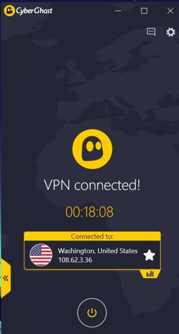 CyberGhost app home
