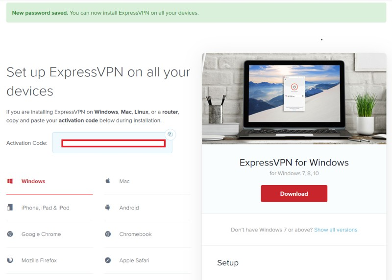 ExpressVPN  set up