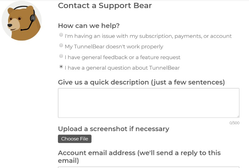 TunnelBear VPN contact support2