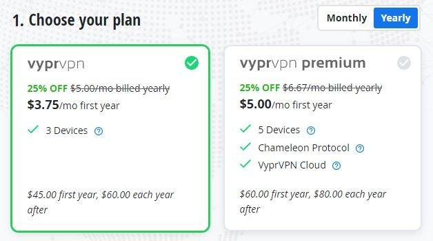 VPN Roczne plany