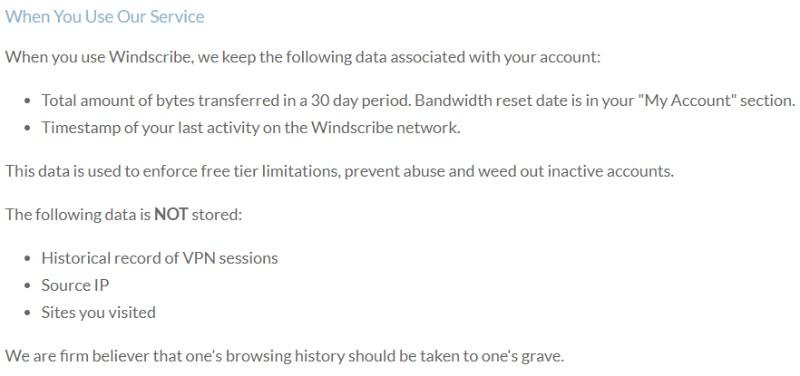 Windscribe no logs Oświadczenie