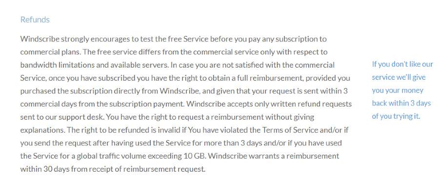 Windscribe refunds