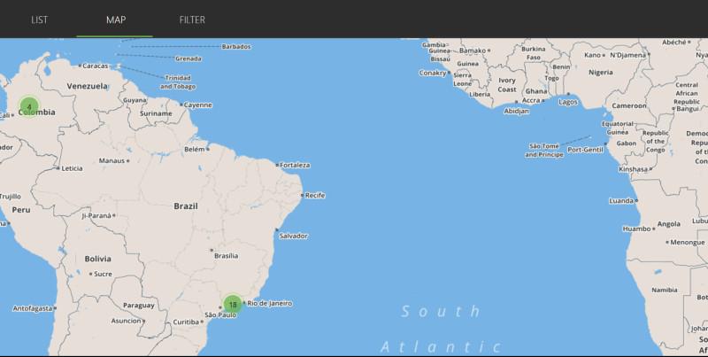 Mapa serwera ipvanish