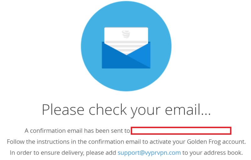 vyprvpn confirm email