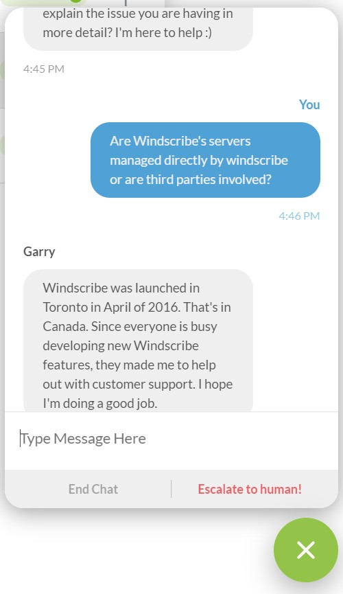 Windscribe chat