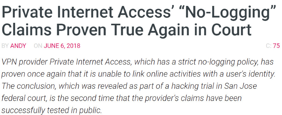 Private Internet Access court
