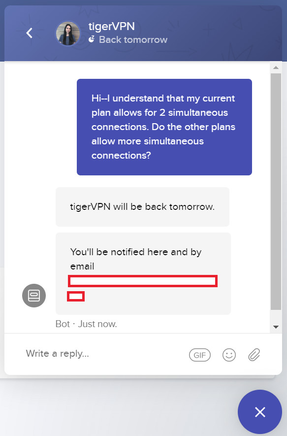 tigervpn chat