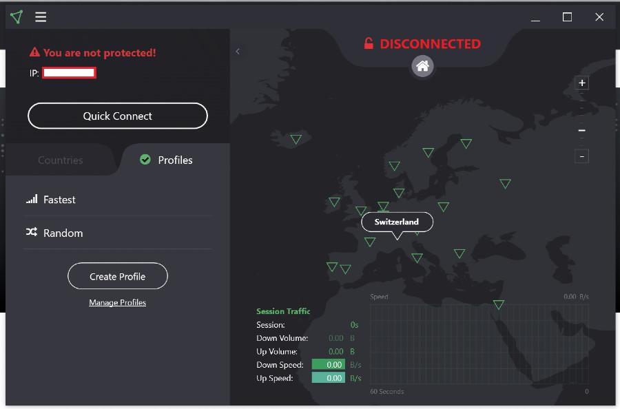 profile domowe i etykieta mapy aplikacji protonowej