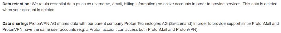 proton privacy policy