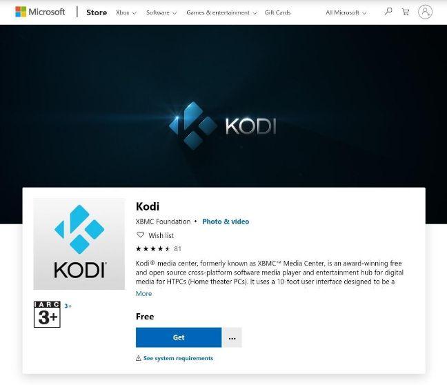 Strona Microsoft Kodi