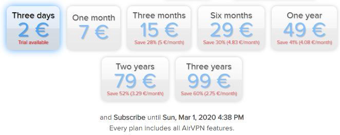 airvpn price
